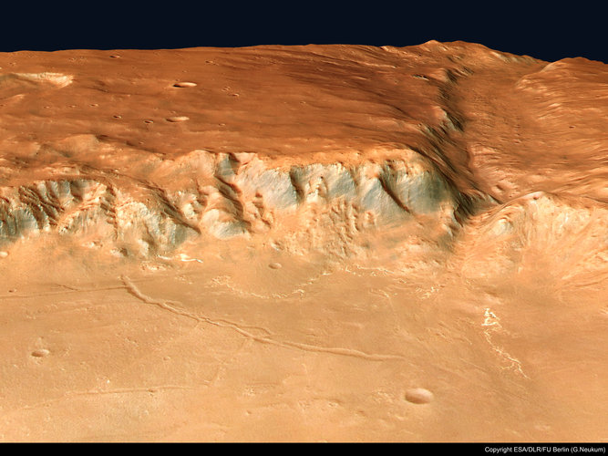 Perspective view of Crater Holden and Uzboi Vallis, looking south