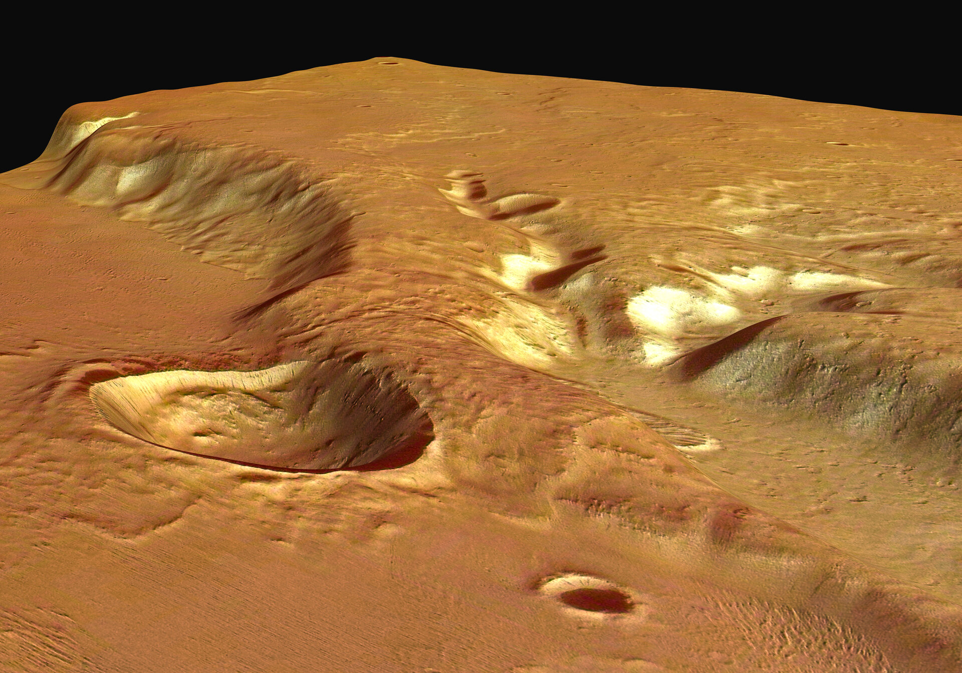 Perspective view of Medusa Fossae looking south-east