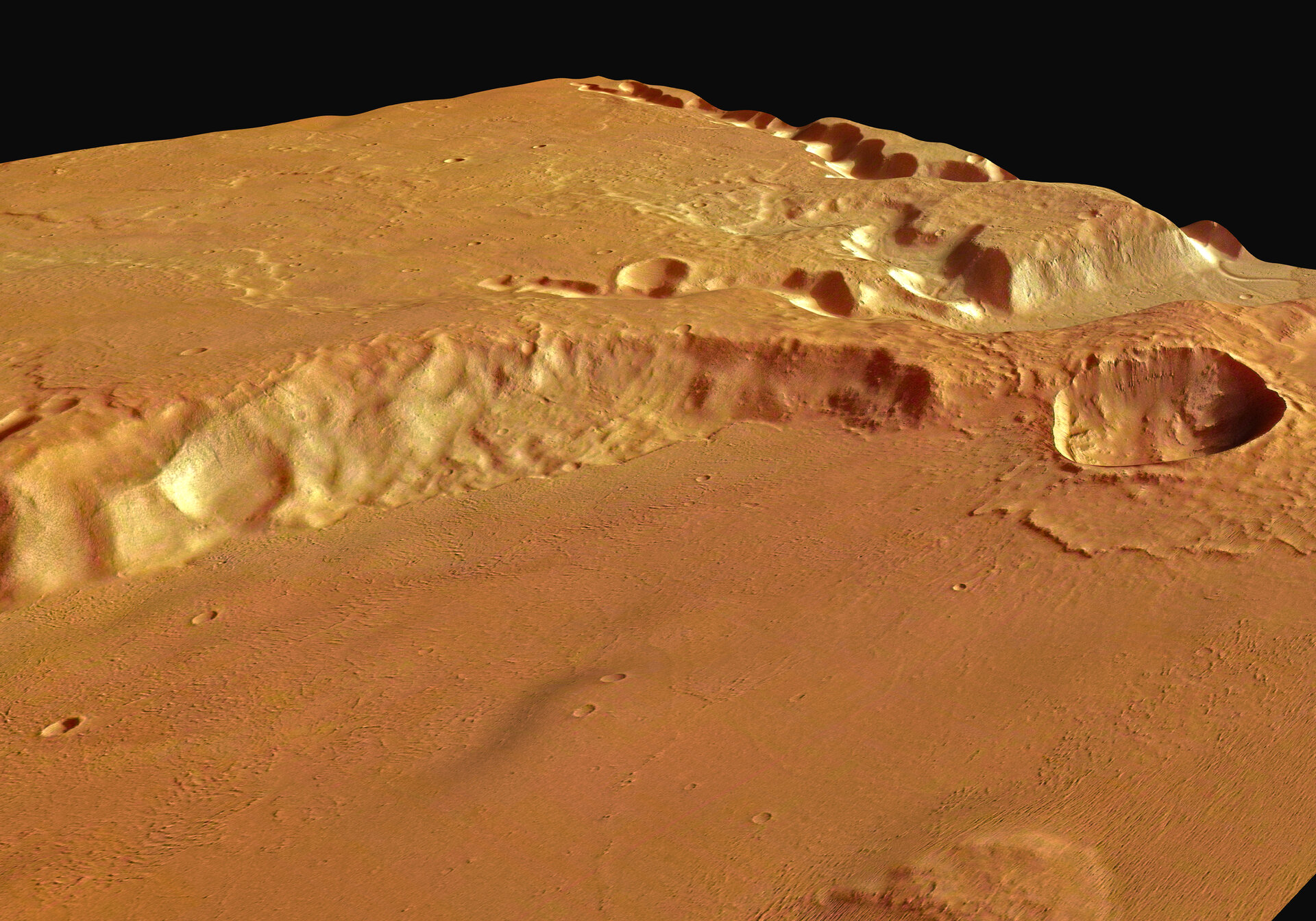 Perspective view of Medusa Fossae looking south-west