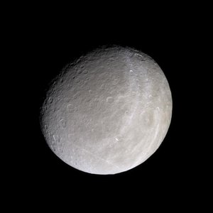Saturn's moon Rhea in natural colour