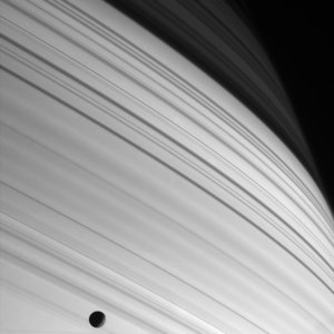 Shadows of Saturn's rings on the planet's cloud tops