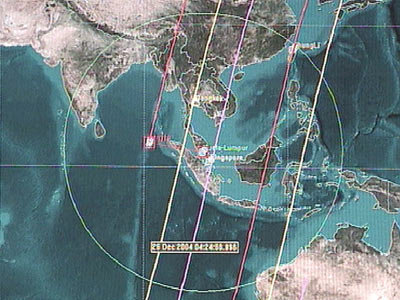 SPOT satellite ground tracks over the region