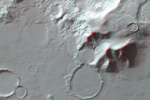 3D anaglyph view of 'hourglass' shaped craters
