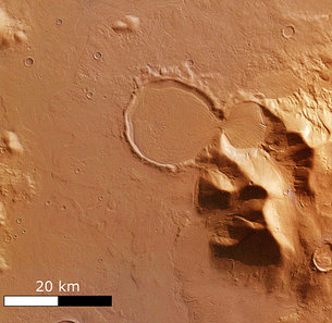 'Hourglass' shaped craters filled traces of glacier