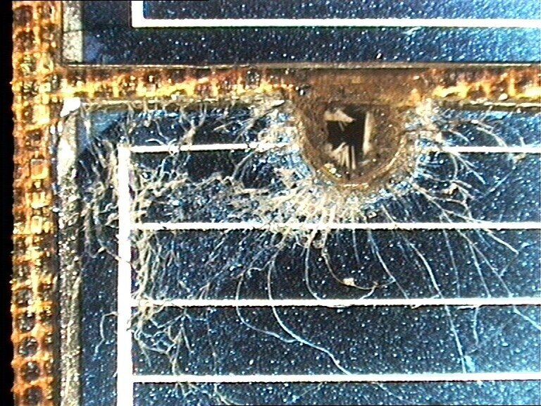 Hubble solar panel damage