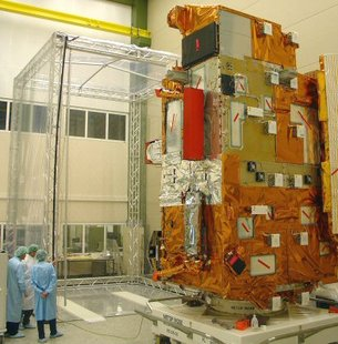 MetOp-1 payload module in front of long-term storage