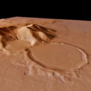 Perspective view of 'hourglass' shaped craters, looking south-ea