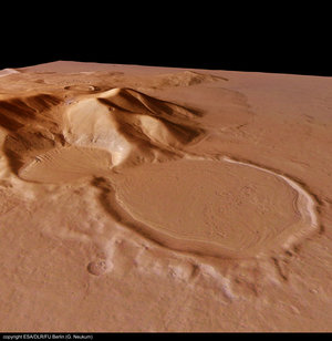 Perspective view of 'hourglass' shaped craters, looking south-east