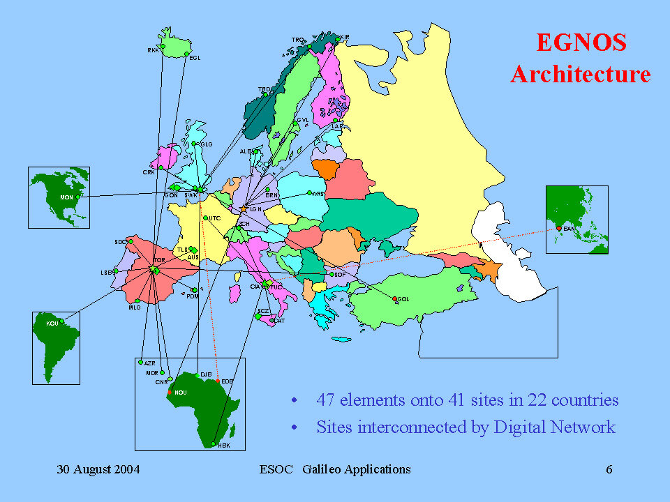 The EGNOS network is made up of more than 40 ground elements deployed all over Europe