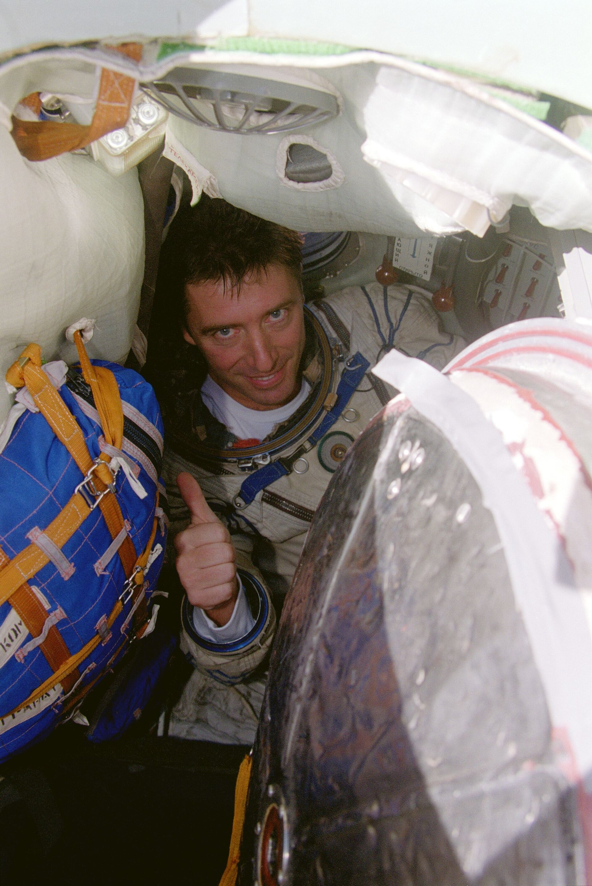 The European astronaut Roberto Vittori during his survival training in Black Sea in November 2001 for the Marco Polo mission.
