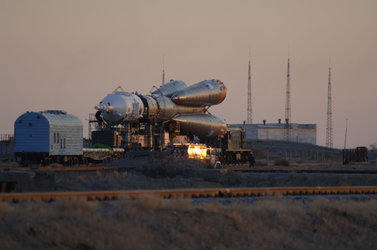 Early morning roll-out of the Soyuz launch vehicle ahead of the Eneide Mission to the ISS