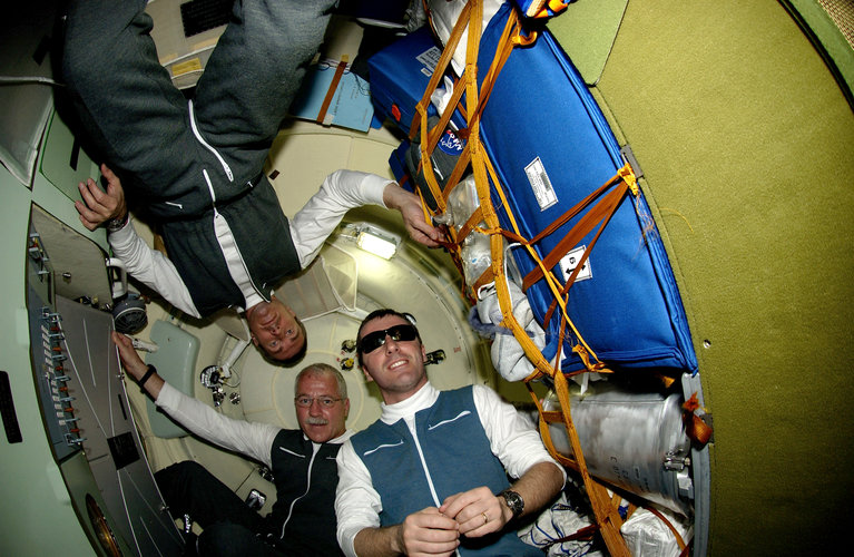 Limited space inside the Soyuz TMA-6 capsule