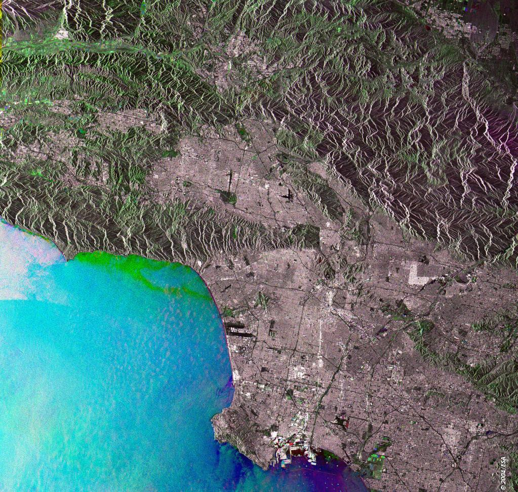 Space In Images   Radar View Of Los Angeles Acquired - Los angeles geography map