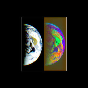 Real and false colour visible images of Earth from Rosetta