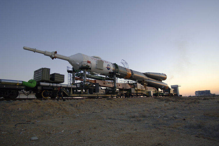Soyuz FG launcher is transferred to the launch pad