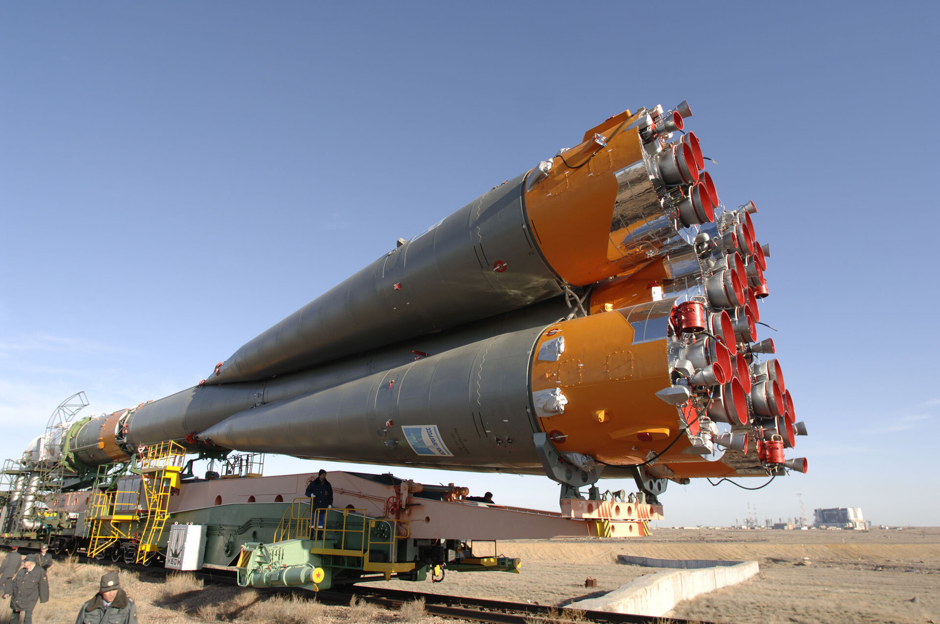 Soyuz launcher is transferred to the launch pad ahead of the Eneide Mission