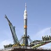 Soyuz launcher upright on launch pad