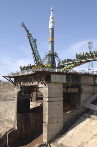 Soyuz launcher stands upright on the launch pad at Baikonur Cosmodrome ahead of the Eneide Mission