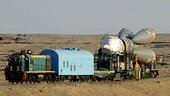 Soyuz transferred to launch pad