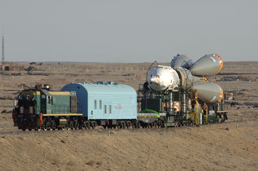 The Soyuz FG launcher is transferred to the launch pad