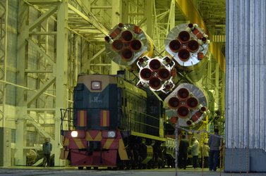 The Soyuz launcher is transported to the launch pad by train