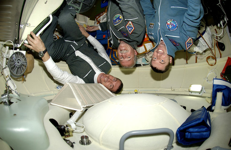 Vittori, Phillips and Krikalev during the two-day journey to the International Space Station
