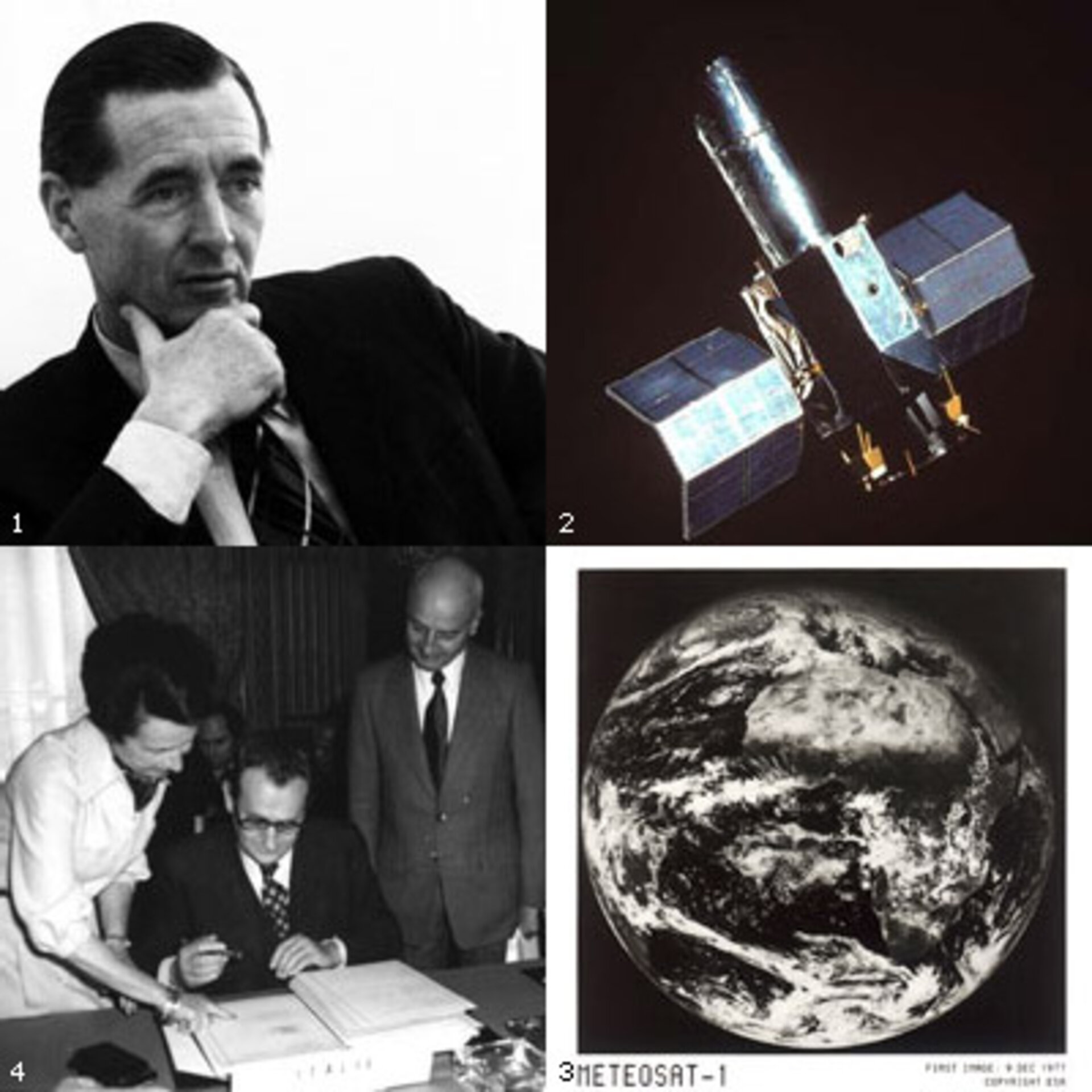 1. First Director General, Gibson  2. IUE satellite  3. Meteosat first image  4. Signing the ESA Convention