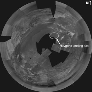 Stereographic projection of Titan's surface seen from Huygens