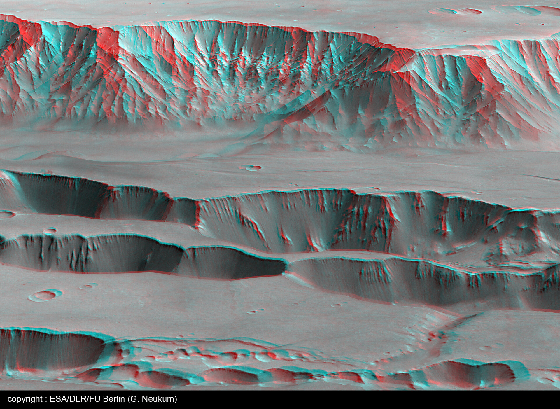3D perspective view of Coprates Chasma and Catena - looking north