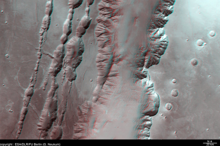 3D view of Coprates Chasma and Coprates Catena