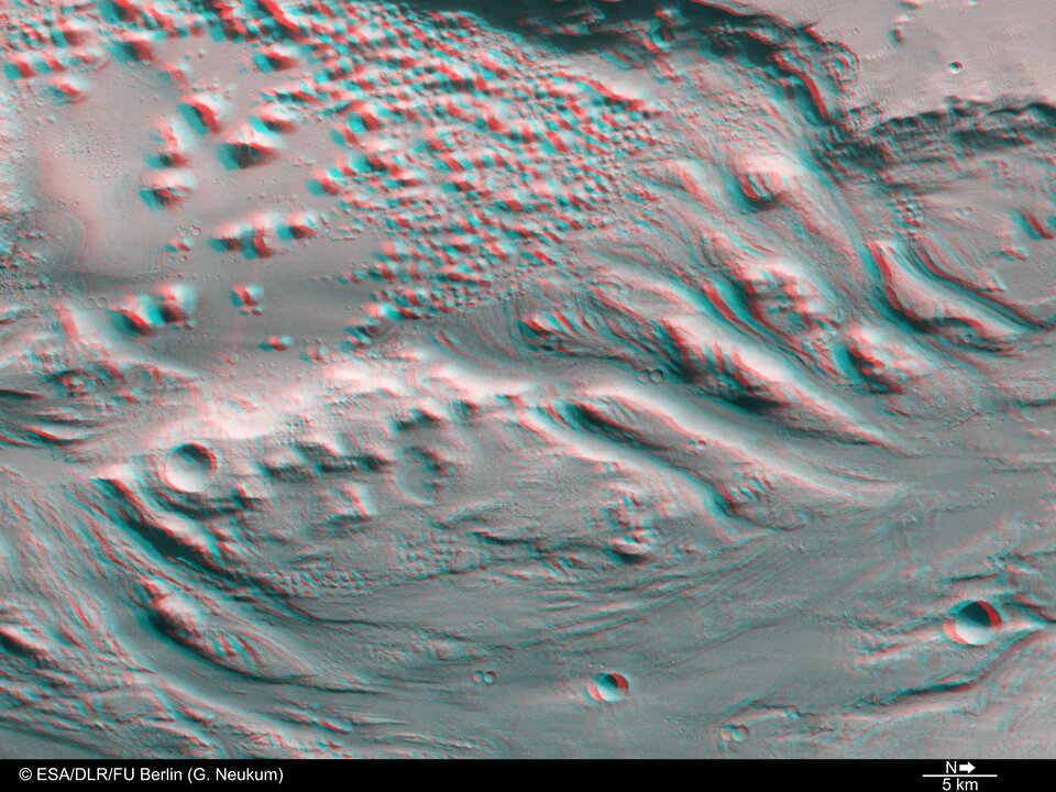 3D view of transition zone between Ares Vallis and Iani Chaos.