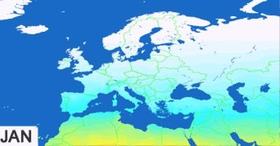 Solar radiation over Europe