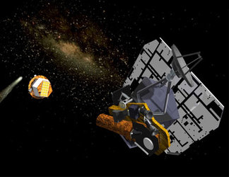 Artist's impression of fly-by spacecraft with impactor