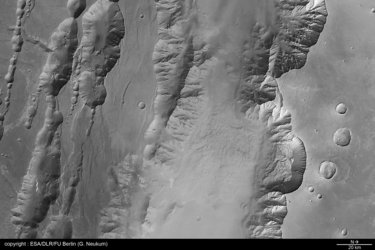 Black and white view of Coprates Chasma and Coprates Catena