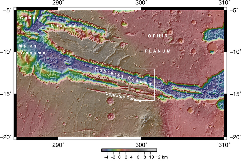 Coprates Chasma and Coprates Catena in context