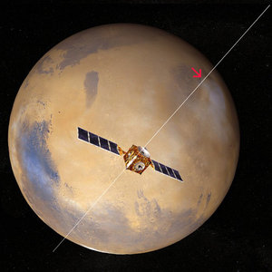 Mars Express in orbit around Mars with the MARSIS antenna unfurled