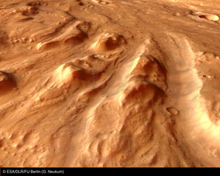Perspective close-up view of outflow signatures in Ares Vallis