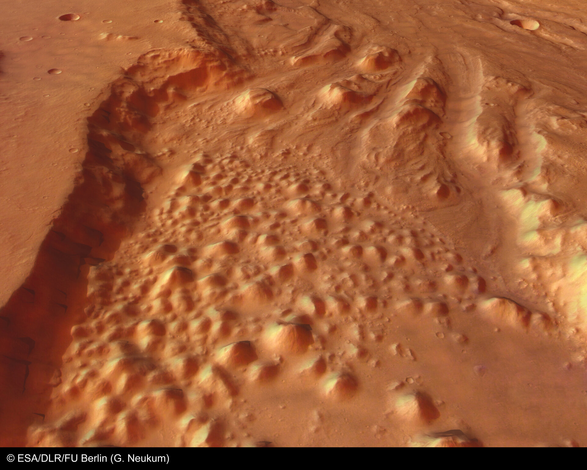 Perspective view of Chaos and Ares Vallis - looking north