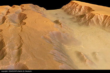 Perspective view of Coprates Chasma and Catena - looking north-east
