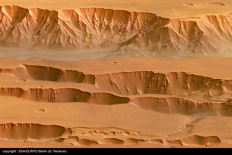 Perspective view of Coprates Chasma and Catena - looking north