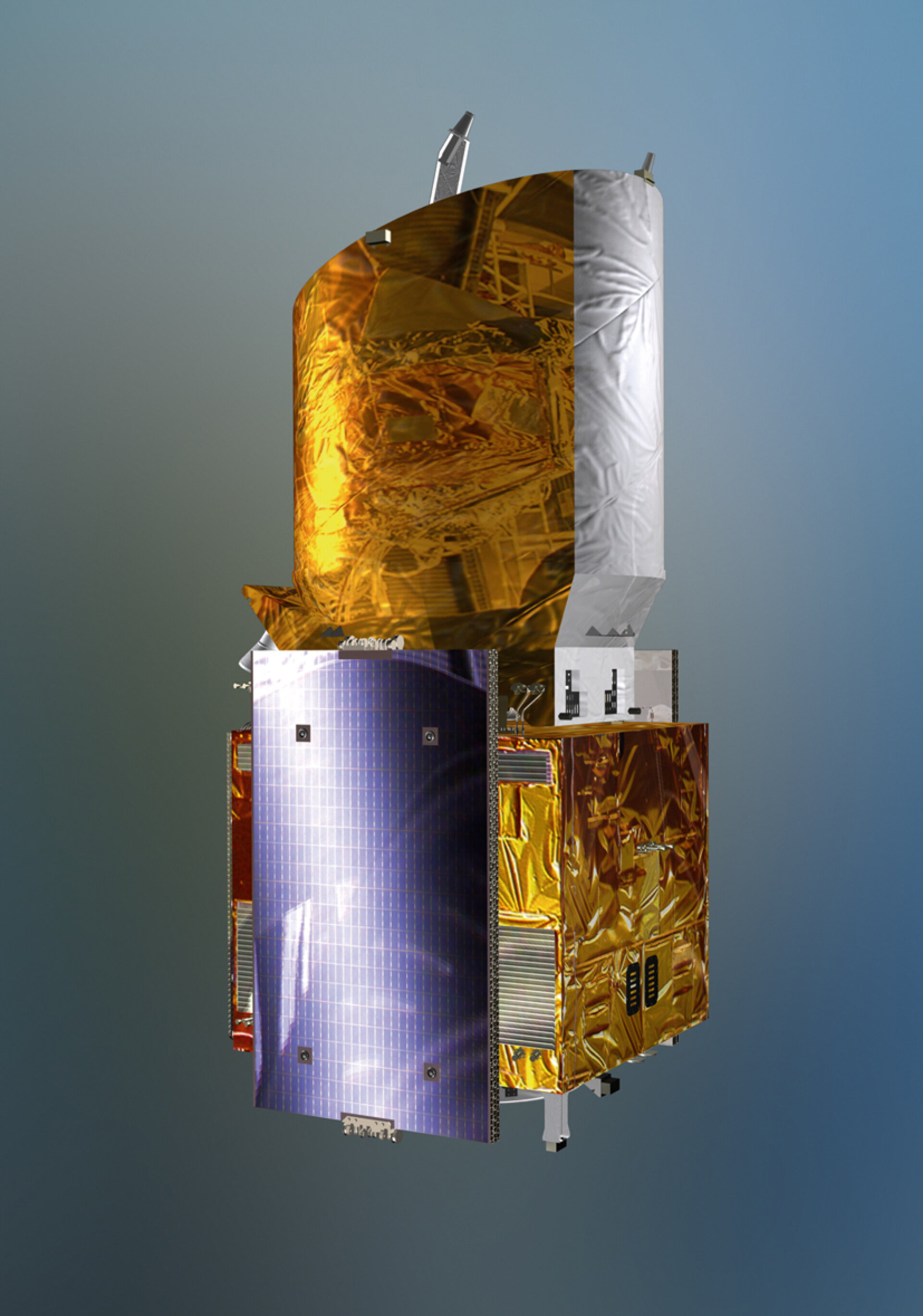 The Aeolus satellite in launch configuration