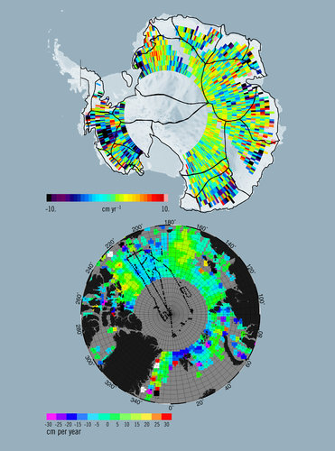 Topography of Antarctic ice sheets and estimated sea-ice thickness in the Arctic