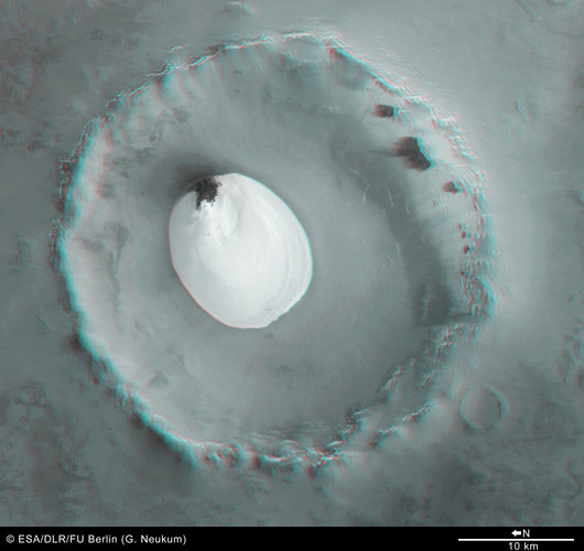 3D anaglyph view of crater with water ice