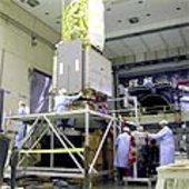 Aeolus during integration on the shaker facility