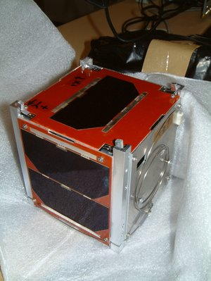 An engineering model of UWE-1 cubesat that will be one of the payloads on the SSETI Express