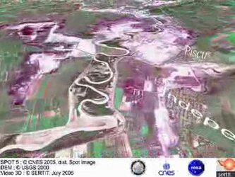 Animated fly-through Siret River flooding