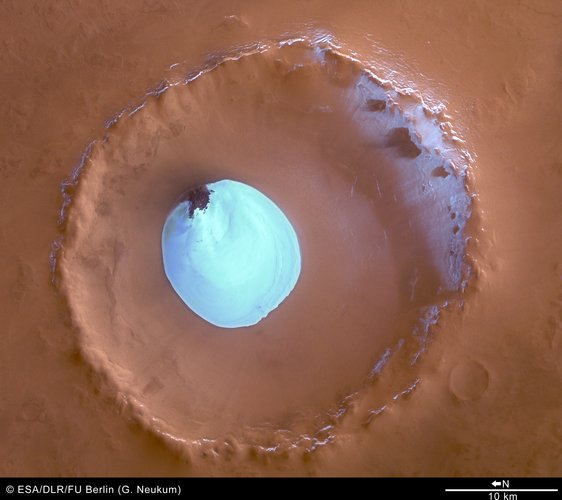 Colour view of crater with water ice