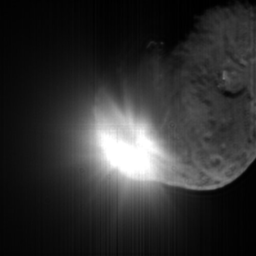 Ejecta plume from Tempel 1, 13 seconds after impact