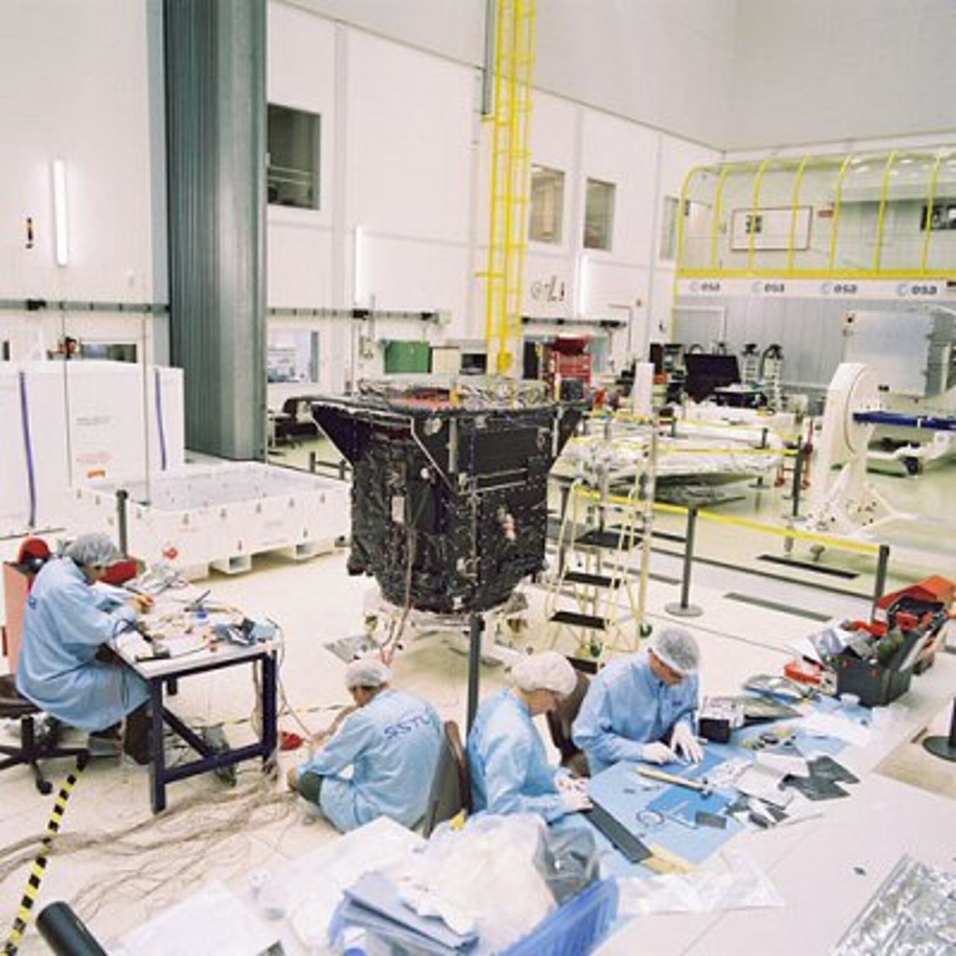 SSTL staff at work on the spacecraft