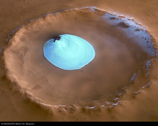 Perspective view of crater with water ice - looking east